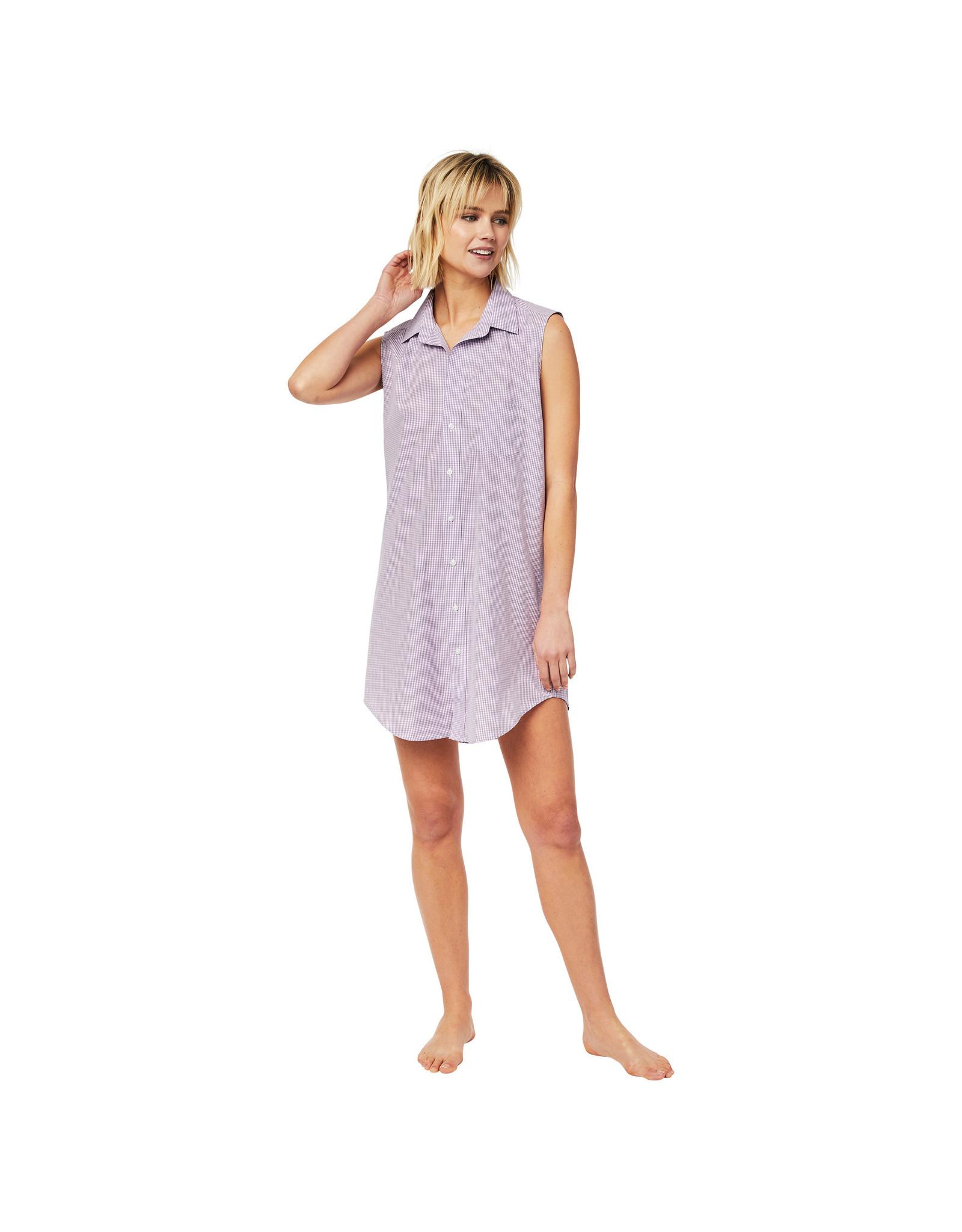 Cat's Pajamas Lavender Check Woven Pima Sleeveless Night Shirt