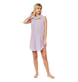 Cat's Pajamas CPJ Lavender Check Woven Pima Sleeveless Night Shirt