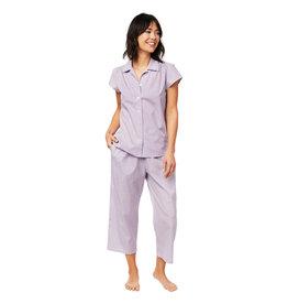 Cat's Pajamas CPJLavender Check Woven Pima Capri Pajama Set