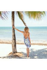 Blue Beach Twist Back Dress