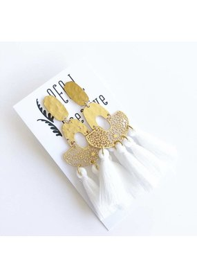Party Tassel Earrings-White (Shiny Gold)
