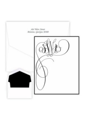 Embossed Graphics Orchid Monogram Note