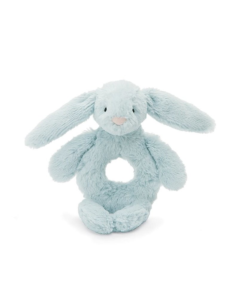 Bashful Light Blue Bunny Ring Rattle