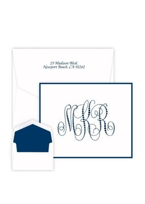 Embossed Graphics Pearl String Monogram Note