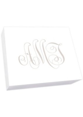 Embossed Graphics Henley Watercolor Monogram Notepad Collection Super Slab White