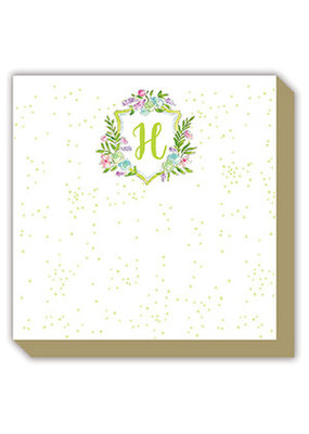 Mini Luxe watercolor Notepad Monogram H