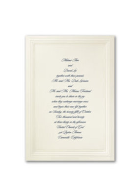 Ecru Embossed Borders Invitation