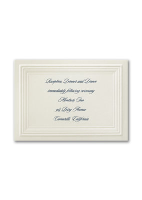 Ecru Embossed Borders Reception Card
