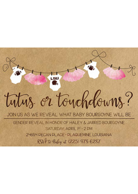 Tutus or Touchdown Gender Reveal