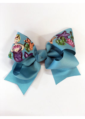 Two Sisters Bows Mermaid Blue Large Bow