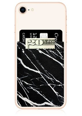 Black Marble Faux Leather Phone Pocket