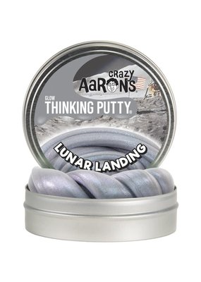 "Lunar Landing 4"" Glow with Glow Charger Silvery grey putty with holographic violet sheen"
