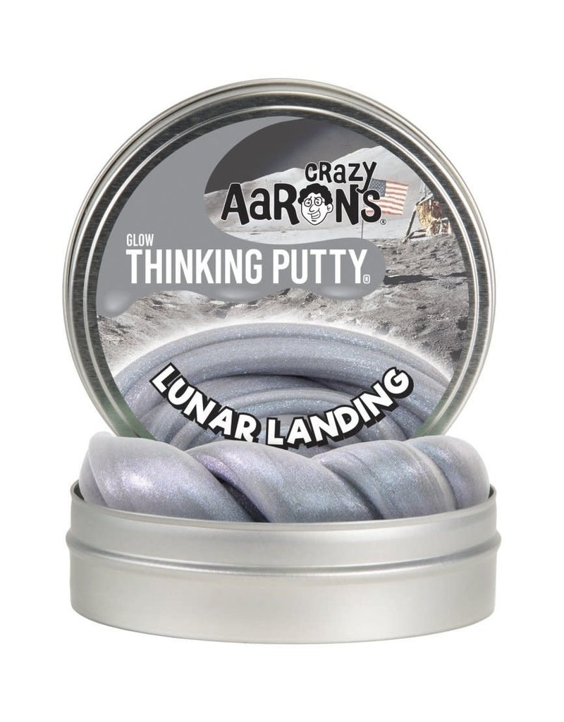 """Lunar Landing 4"""" Glow with Glow Charger Silvery grey putty with holographic violet sheen"""
