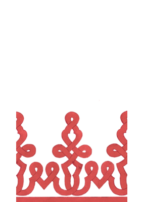 Caspari Dessin Passementerie Red Linen Guest Towel
