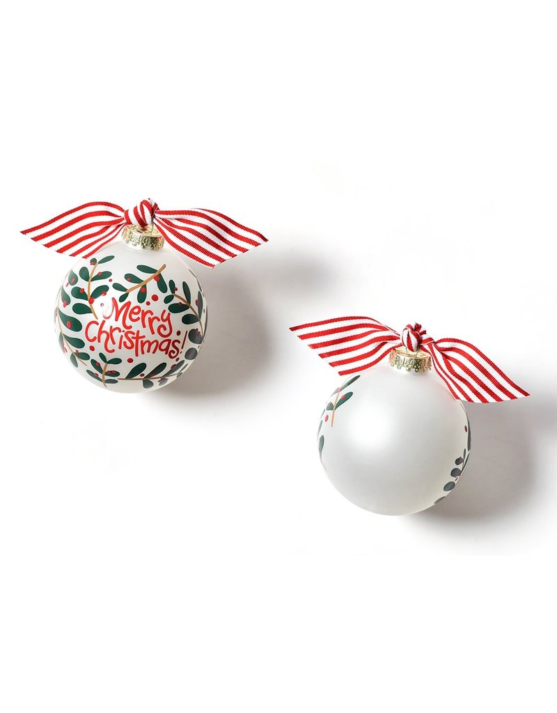 Merry Christmas Holly Branch Ornament