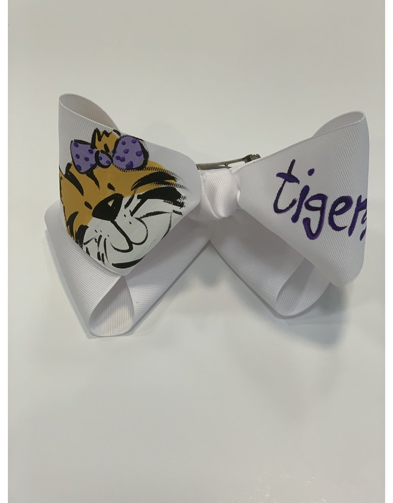 Two Sisters Bows Girl Tiger Face XLarge Bow