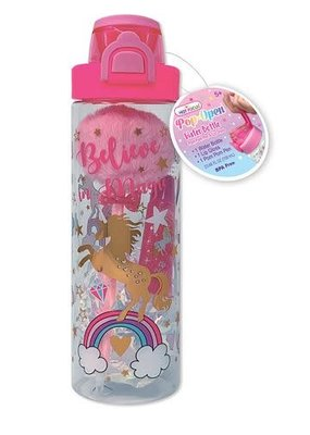 Hot Focus Pop-Open Water Bottle Pom Pom Pen & Lip Gloss, Unicorn