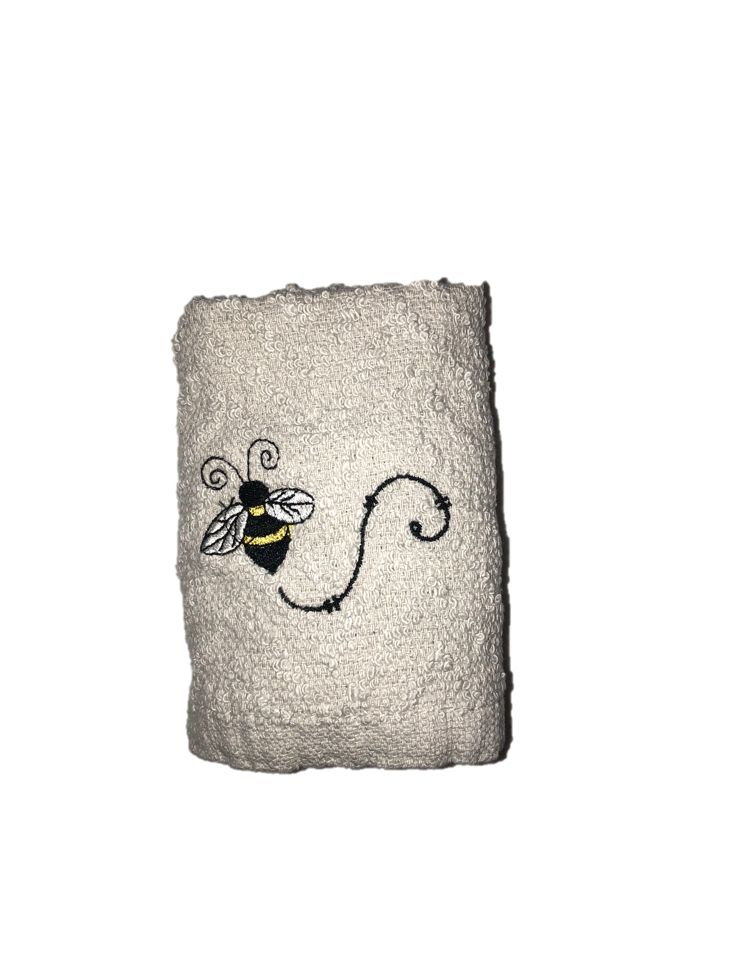 Light Grey Wash Cloth with Single Bee