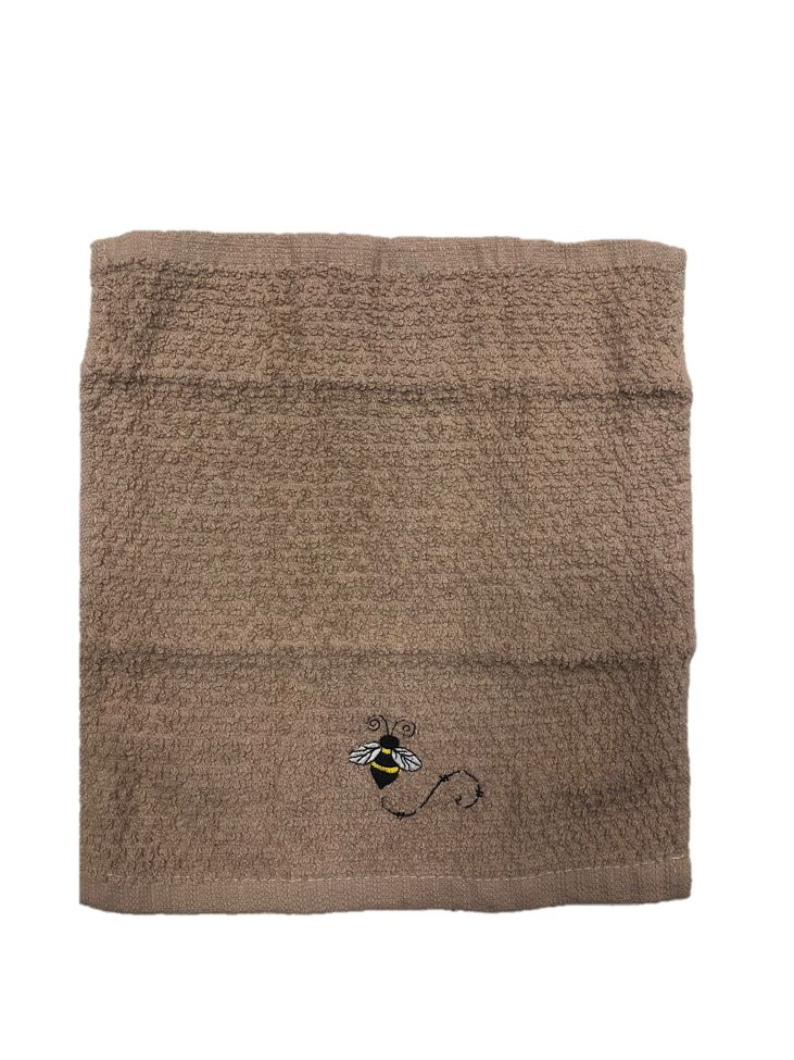 Taupe/Beige Wash Cloth with Single Bee