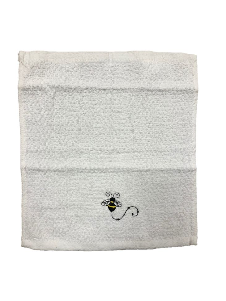 White Wash Cloth with Single Bee