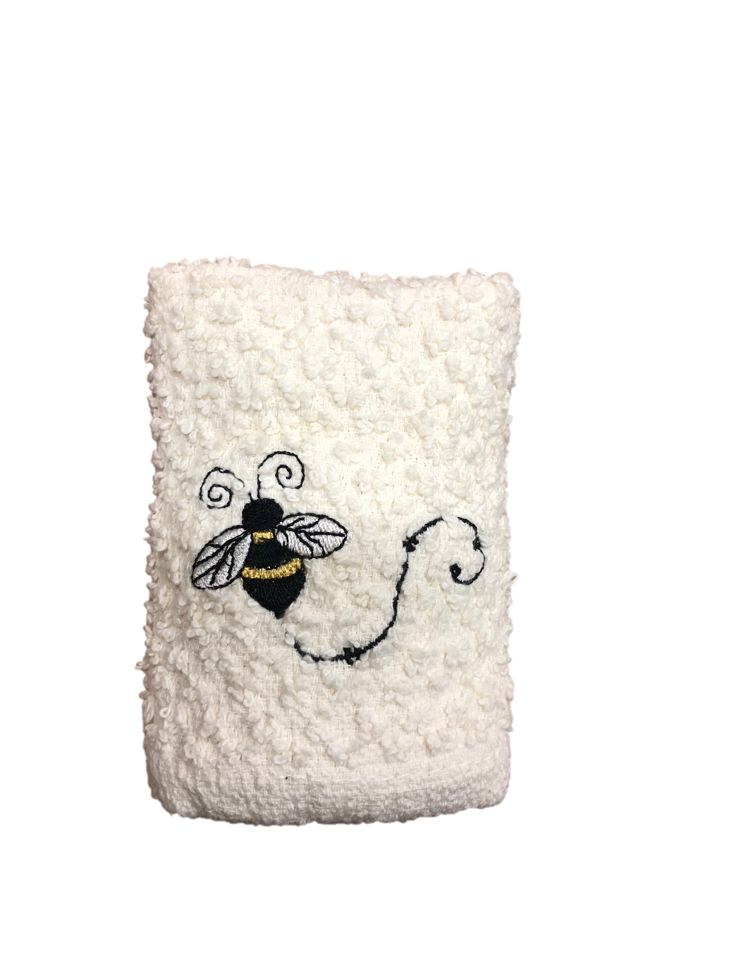 Pale Yellow Wash Cloth with Single Bee
