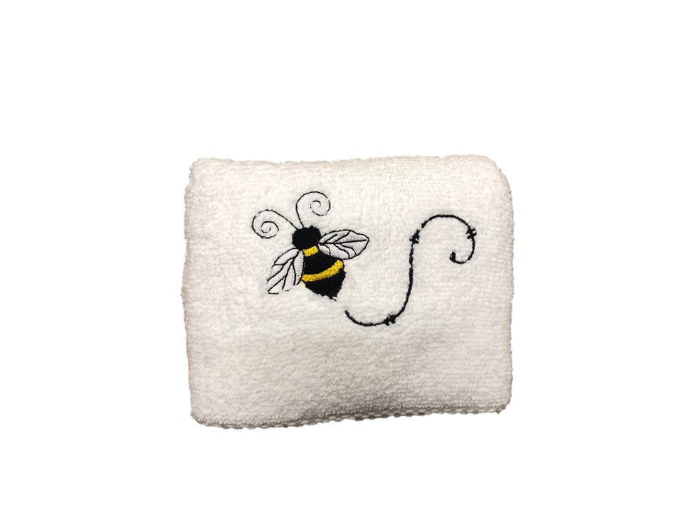 White Bathroom Hand Towel with Single Bee