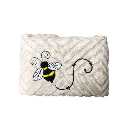 Two-Tone Grey Kitchen Hand Towel with Single Bee