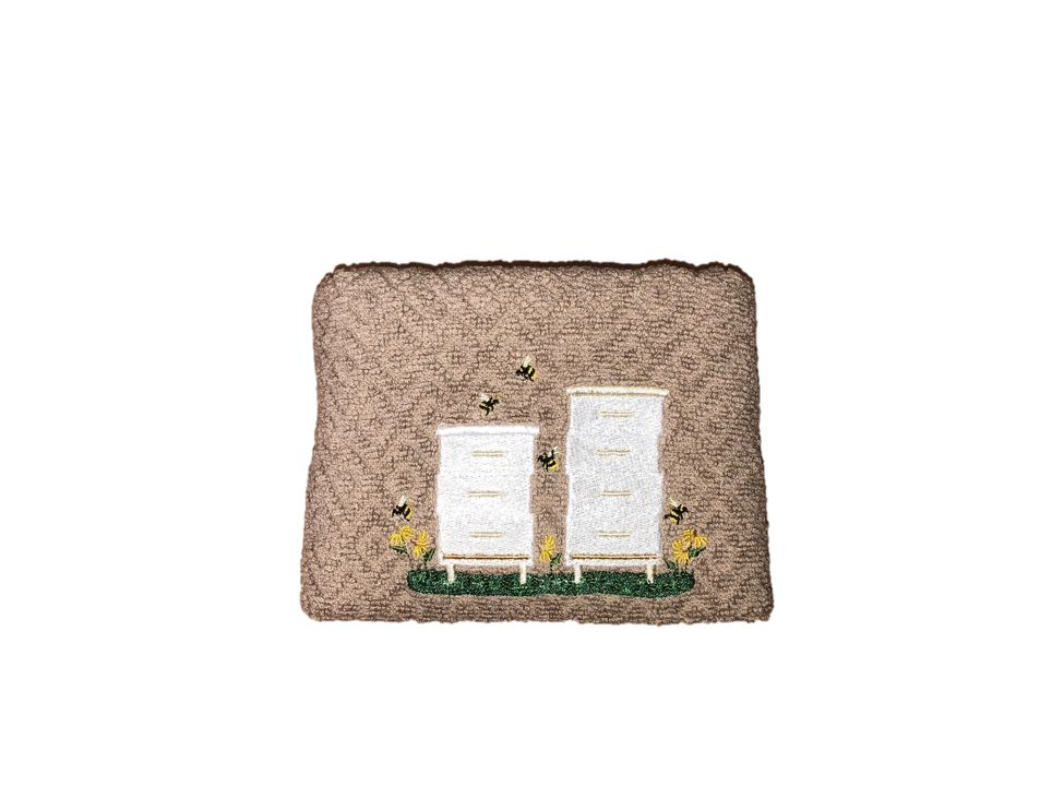 Taupe/Beige Kitchen Hand Towel with White Bee Boxes