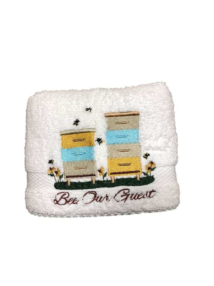 "White Bathroom Hand Towel with ""Bee Our Guest/Bee Boxes"""