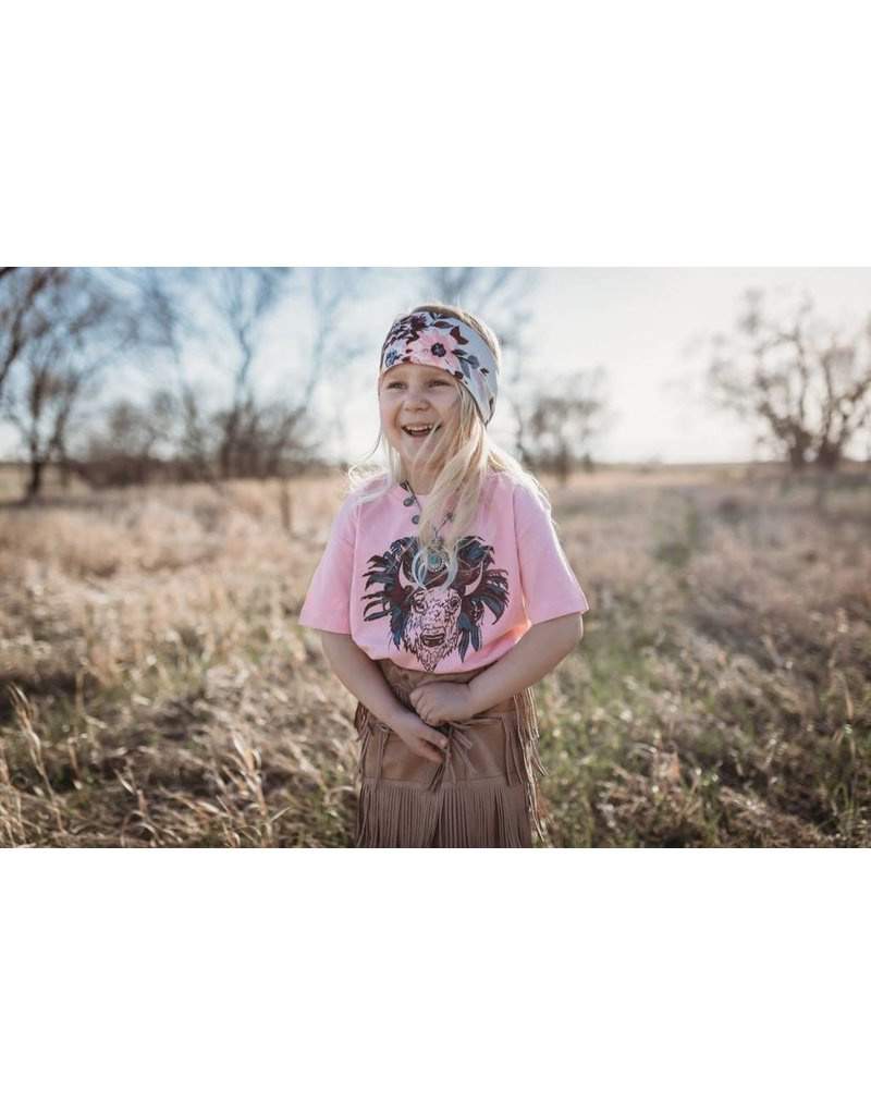 The Coyote Cowgirl Boss Baby Buffalo Headdress Pink Youth Tee
