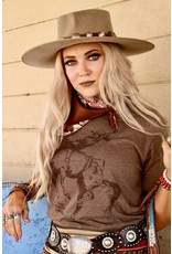 The Coyote Cowgirl Lady Bronc Brown Ringer Tee