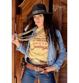 The Coyote Cowgirl Let Your Babies Be Cowboys Mustard Tee