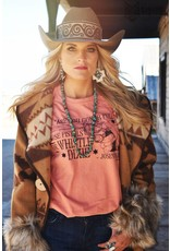 The Coyote Cowgirl Whistle Dixie Coral Graphic Tee