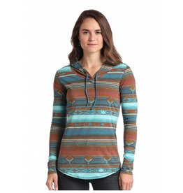 Panhandle Slim Panhandle Slim 3/4 Sleeve Brown Serape Print Hoodie