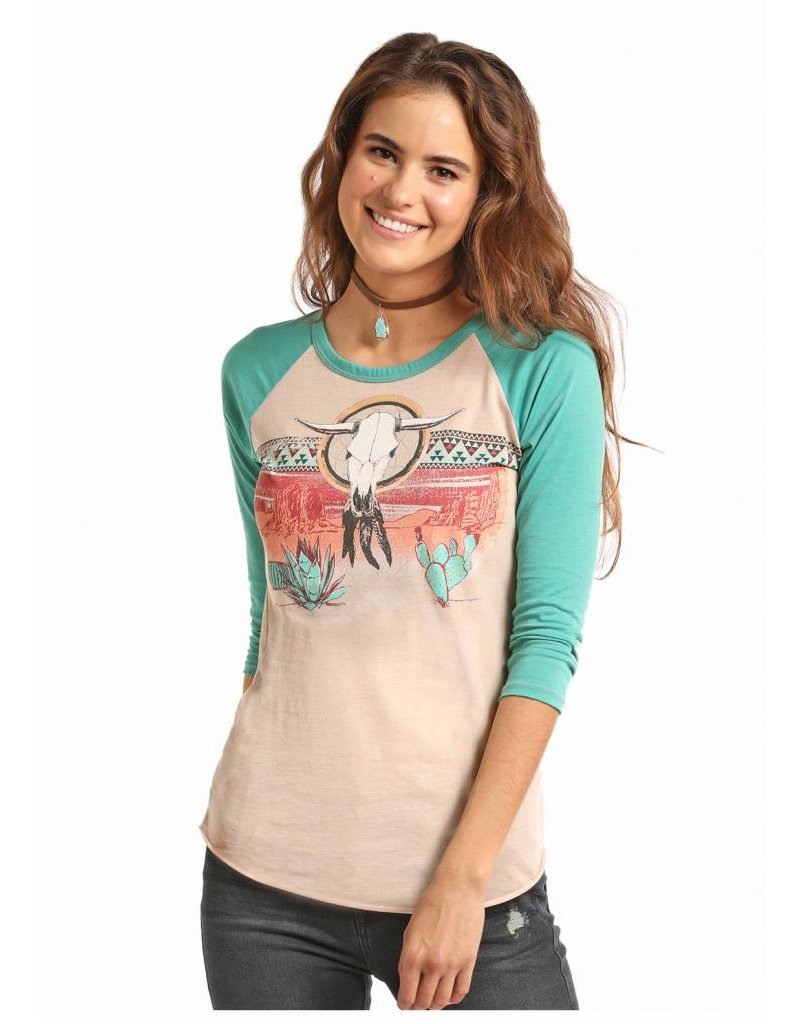 Rock & Roll Cowgirl Rock & Roll Cowgirl Desert Border Baseball Tee