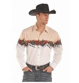 Panhandle Slim Panhandle Khaki Scenic Border Long Sleeve Snap Shirt