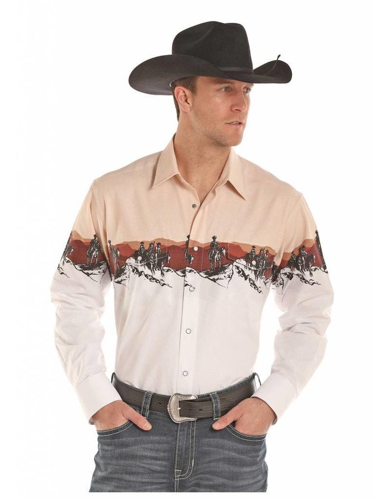 Panhandle Slim Panhandle Khaki Scenic Border Long Sleeve Snap Shirt