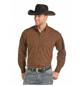 Panhandle Slim Panhandle Select Brown Peached Poplin Print Long Sleeve Button Down Shirt