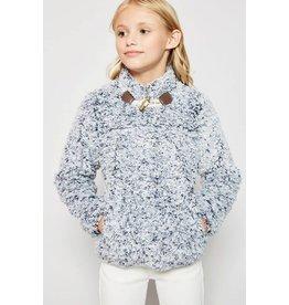 Hayden Blue Long Sleeve Youth Fleece Pullover