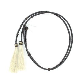 M&F Western Products Black Leather Stampede String with Horsehair