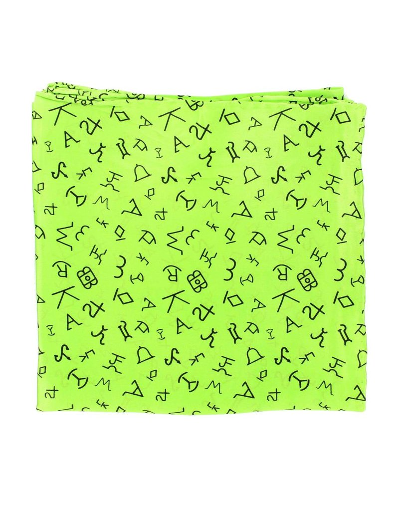 M&F Western Products Lime Brand Iron 100% Silk Wild Rag