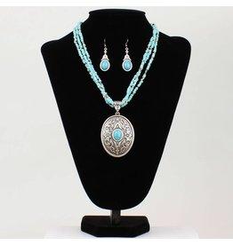 Blazin Roxx Turquoise Beads Strand Oval Pendant Set