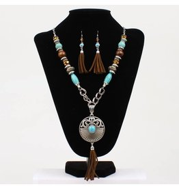 Blazin Roxx Connecting Chain Links & Turquoise Beads  Medallion Style Pendant Jewelry Set