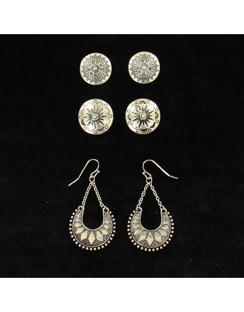 Blazin Roxx Silver Aztec 3-Piece Earring Set