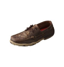 Twisted X Twisted X Women's Brown Embossed Flower Driving Moccasins