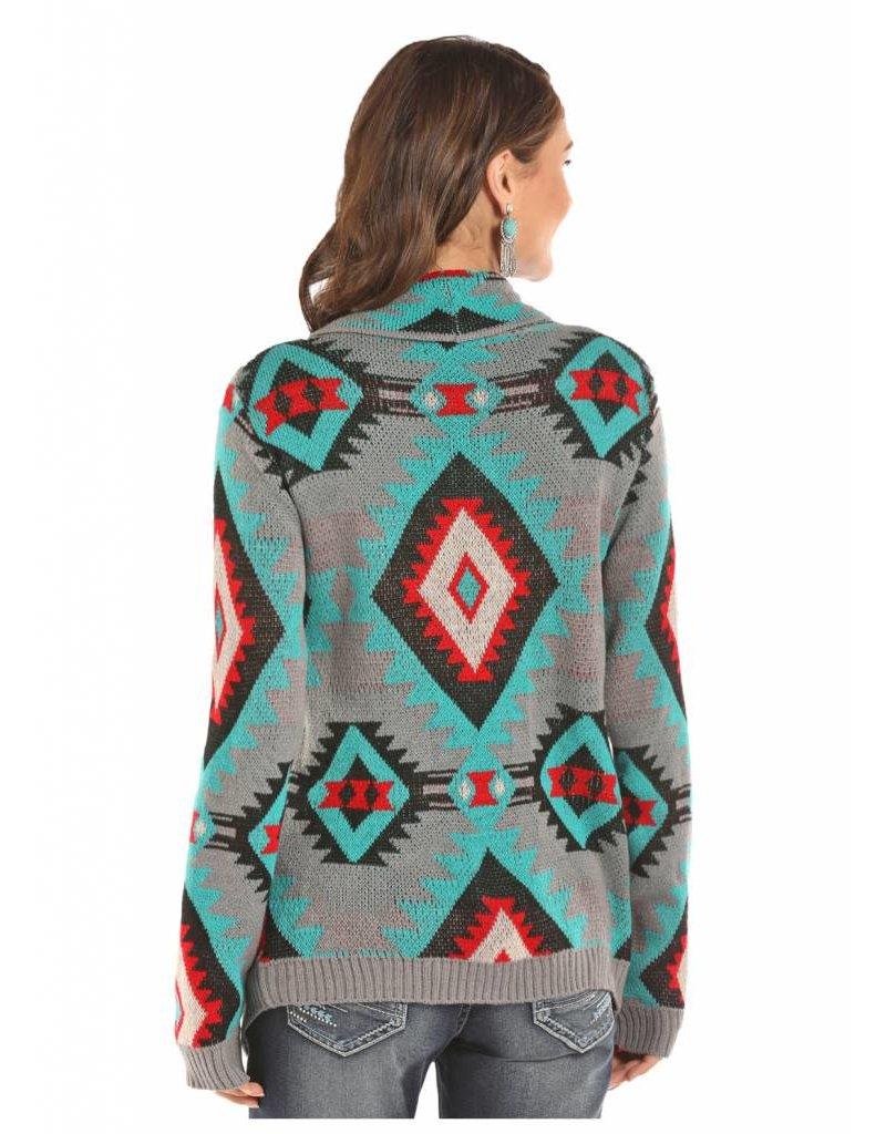 Rock & Roll Cowgirl Rock & Roll Cowgirl Aztec Design Sweater Cardigan
