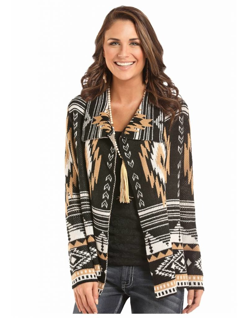 cd101a036a Rock   Roll Cowgirl White   Camel Aztec Cardigan - Ray s Western ...