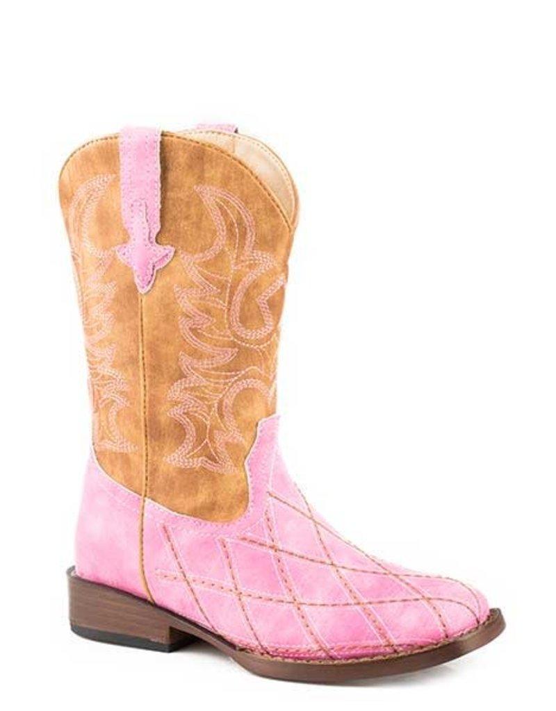 Roper Roper Youth Pink Diamond Pattern Stitching Boots