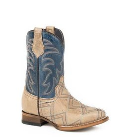 Roper Roper Youth Embroidered Tan Marble Blue Boots