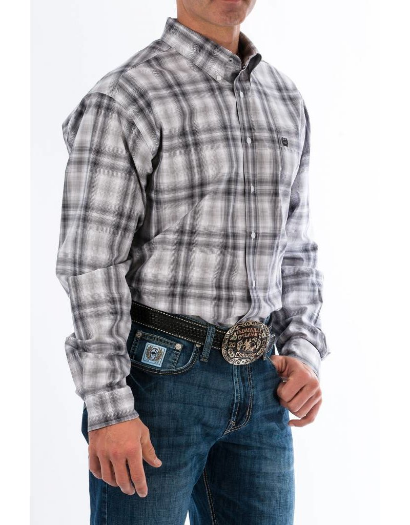 Cinch Cinch Men's Gray Plaid Long Sleeve Button Down Shirt